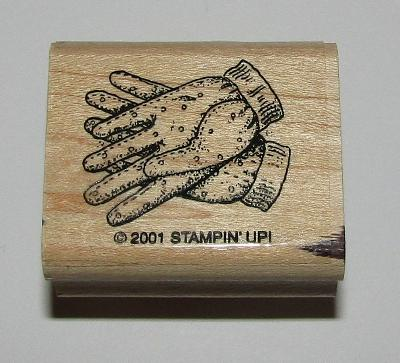 "Gardening Gloves Rubber Stamp Stampin Up Retired Design Wood Mounted 1.5"" Long"