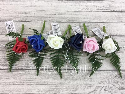 Colourfast Foam Rose Flower Everlasting Wedding Artificial Corsage Bride Groom