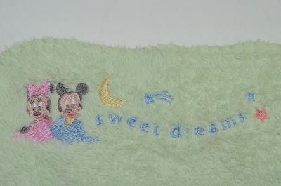 Crown Crafts Mickey Mouse Minnie Baby Blanket Sweet Dreams Green Moon Stars