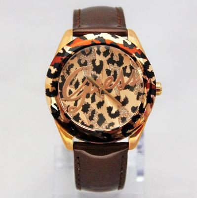 New Guess U0455L3 Brown Tone Iconic Animal Print Shinny Leather Band Women Watch