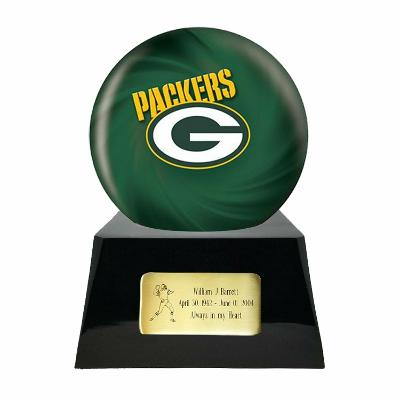 Large/Adult 200 Cubic Inch Green Bay Packers Metal Ball on Cremation Urn Base