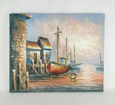 """Harbor Signed by Benglis 24""""x20"""" on Stretched Canvas Oil Painting"""