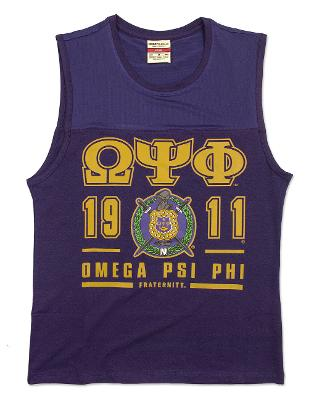 Omega Psi Phi Fraternity PURPLE SLEEVELESS MUSCLE SHIRT TOP T-SHIRT Q-DOG TEE
