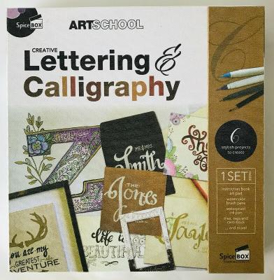 Creative Lettering & Calligraphy Spice Box Art School Kit Book Pens Paper Ideas