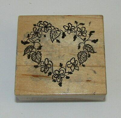 Violet Heart Wreath Rubber Stamp PSX Viola Leaves Flowers Wood Mounted