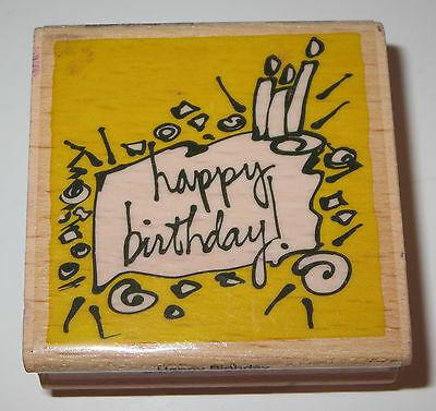 Happy Birthday Rubber Stamp Candles Cake Wood Mounted #2