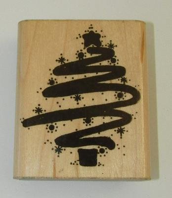 "Starry Scribble Tree Rubber Stamp D.O.T.S. Christmas Wood Mounted 3"" High"