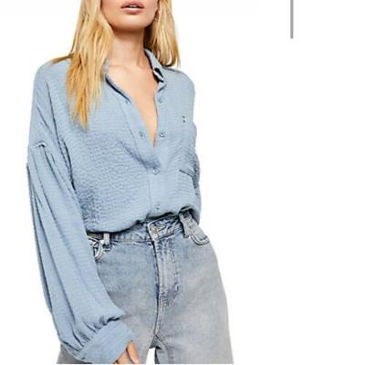 Free People Hidden Valley ButtonDown Solid Top Rainfall Large L NWT OB1013618