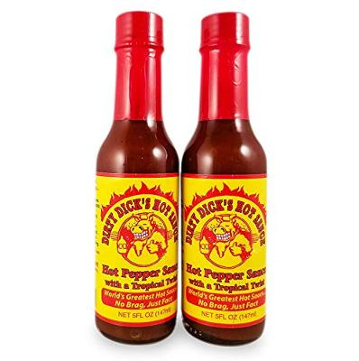 Dirty Dick's Hot Sauce - Hot Pepper Sauce with a Tropical Twist (2 Pack)