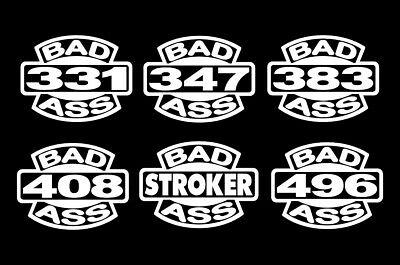 2 BADASS STROKER DECALS V8 331-347-383-408-496 CUBIC INCHES STICKERS SBC SBF BBC