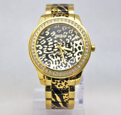 New Guess U0465L1 Crystals Bezel Animal Print Golden Stainless Steel Women Watch