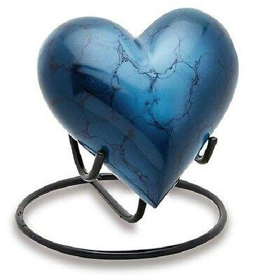 Mystic Blue Heart 3 Cubic Inches Small/Keepsake Funeral Cremation Urn for Ashes