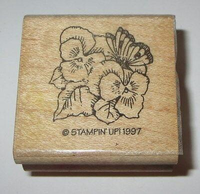 Pansy Butterfly Stampin' Up! Rubber Stamp Rare Flower Pansies Leaves #2