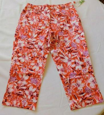 Palm Island Capri Pants Size 6 Missy women's Casual Floral bright coral NWT NEW