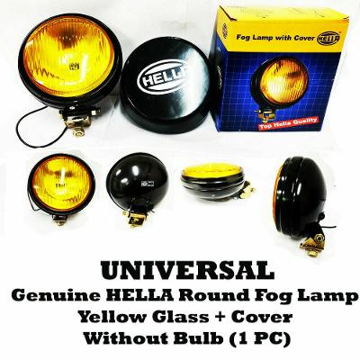 Universal Genuine Hella Round Fog Lamp Yellow Glass + Cover Without Bulb New