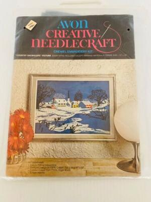 """Vintage Avon Crewel Embroidery Kit """"Country Snowscape 16x20 Framed 12x16 NIP"""