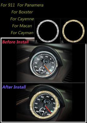 Porsche Diamond Crystal Sports Chrono Clock Surround Frame Gold