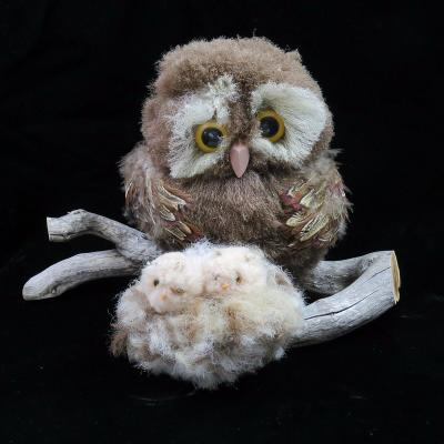 Owl With Two Owlets On Branch Handcrafted Home Decor Real Feathers & Wood RARE