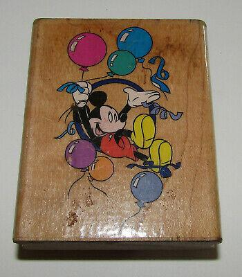 """Mickey Mouse Rubber Stamp Party Balloons Streamers Disney Wood Mounted 2.75"""""""
