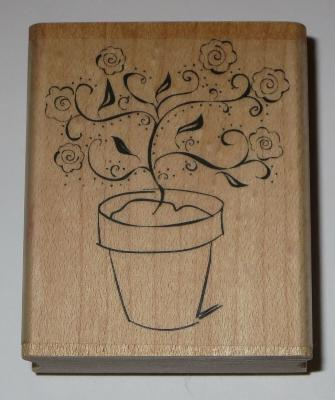 ROSES Potted Plant Rubber Stamp Flowers Leaves Rainy Day Wood Mounted