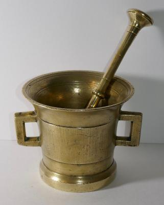 """Large Brass Apothecary 4"""" Mortar and Pestle Spice Herb Grinder Pill Crusher (B)"""