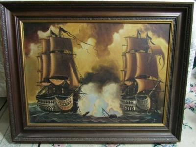 """Arevalo - Original on Canvas 28"""" by 36"""" Picture Painting Naval Ship Battle"""