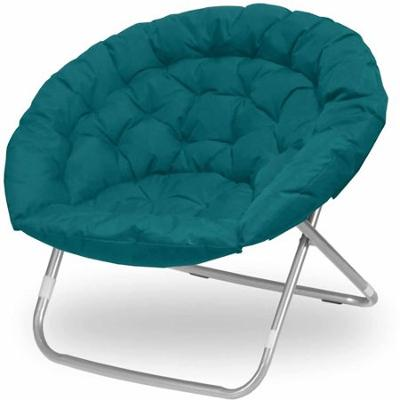 Oversize Extra Large Microsuede Saucer Moon Folding Lounge Chair, Teal
