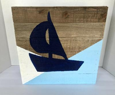 Hand Painted Wooden Decorative Sailboat Painting Nautical Blues & White - Unqiue