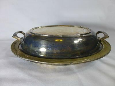 Antique Silver/Silver Plate Crescent MFG Silver Ware Oval Lidded Serving Dish