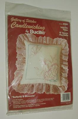 """Candlewicking Kit Butterfly Blossoms Trapunto Pillow 12"""" Square Plus Ruffle New"""