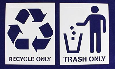 """Recycle-Trash -With Words- 2 Piece Stencil Set 14 Mil 18"""" X 24"""" Painting/Crafts/Template"""