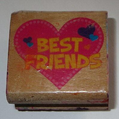 """Best Friends Rubber Stamp Hearts #2 Wood Mounted 1 1/2"""" Wide"""