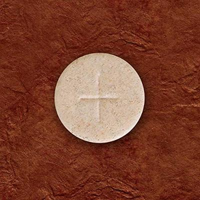 """Whole Wheat Altar Communion Bread 1000 Count Box 1 1/8"""" Round With Cross Design"""