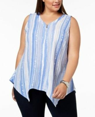 Ny Collection Plus Size Striped Handkerchief-Hem Top - Pick Size