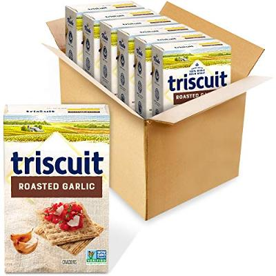 Triscuit Roasted Garlic Whole Grain Wheat Crackers, 6 - 8.5 oz Boxes