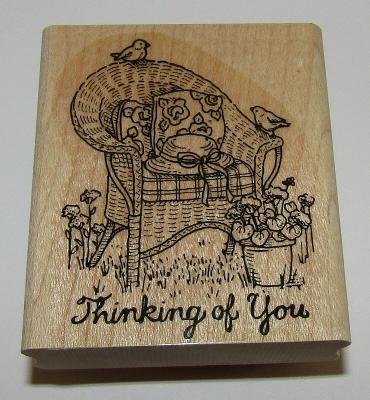 Thinking Of You Rubber Stamp Wicker Chair Stampin' Up! Birds Garden Hat #4