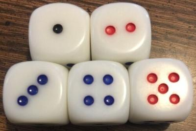 """Dice Set Of 5 WHITE 6 Sided Rounded Corner 3/4"""" LARGE with Colored Spots"""