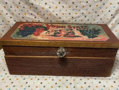 Antique Barn Wood Box with Glass Knob Handle, Leather Hinges and NYS Grape Label