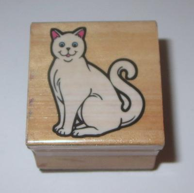 Cat Kitten Rubber Stamp Pets Wood Mounted Kitty Tail Curled #2