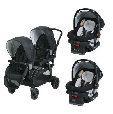 Graco Double Twin Stroller Travel System With 2 Infant Car