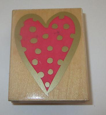 Dot HEART Rubber Stamp Love Hero Arts 1998 Bold Border Wood Mounted Cards