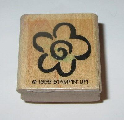 Flower Outline Rubber Stamp Stampin' Up! Two Step Retired Wood Mounted