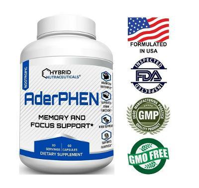 AderPhen™ Best Focus Booster Nootropic Brain Supplement, Mental Clarity, Memory