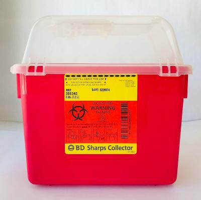 8 Quart BD Sharps Collector Container Clear Top with Hinged Opening 305343 7.2 L