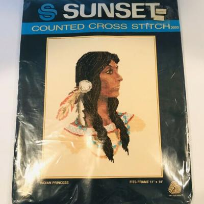 Vintage Indian Princess Counted Cross Stitch Kit Sunset NIP 11x14 NEVER OPENED
