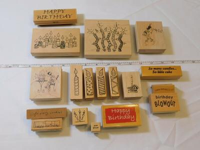 Lot of Misc Wood Mount Stamp Set includes 18 rubber stamps Scrapbooking Candles