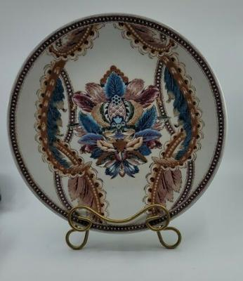 Antique Chinese Export Hand Painted Porcelain Feather Charger Early 20th Century