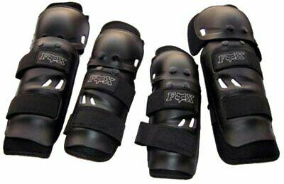 Fox Motorcycle Riding knee and elbow protection (Black, Set of 4) (leather)