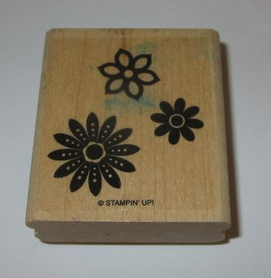 Flower Trio Rubber Stamp Flowers Stampin Up Wood Mounted Floral Garden