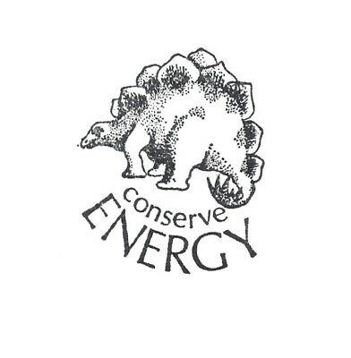 "Conserve Energy Rubber Stamp Dinosaur Graphistamp Vintage Wood Mounted 2"" High"